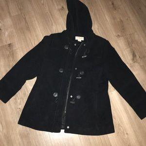 MICHAEL KORS black hooded pea coat
